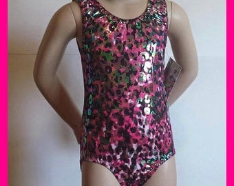 Gymnastics Leotard, Girls Sizes 2 to 8 Jungle Holo Gymnastics and Dance Leotard