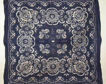 "Vintage Bandana /  Scarf / neckerchief / Blue / 18.75"" x 17.5"" / Boho / Festival / cotton"