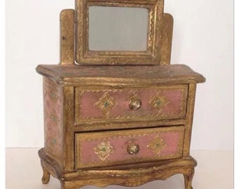 SALE Vintage Italian Florentine Florentia Wooden Jewelry Chest Swivel Mirror Gold Gilt and Pink Tole Toleware Made in Italy