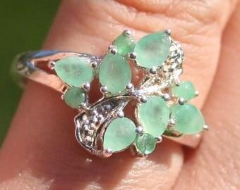 Genuine Emerald Silver Ring