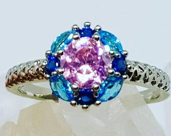 Pink and Blue Topaz Sapphire Ring