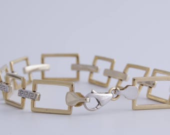 14K yellow and white gold Greek key link bracelet / chain link bracelet / 14k gold greek key bracelet / Greek key bracelet / bracelet / 1292