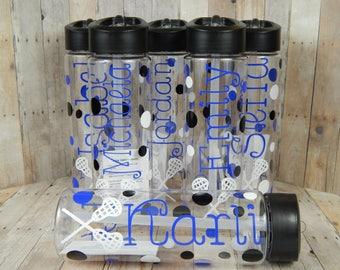Personalized Lacrosse Water Bottles, Lacrosse Waterbottle, Team Sport, Lacrosse, BPA Free Waterbottle, Party Favor, Team Party,  Custom