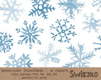 Christmas Clipart, Watercolor Snowflakes, Watercolor Clipart