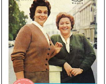 1950s Classic V Neck Cardigan - Plus Size Knitting Pattern - - Instant Download