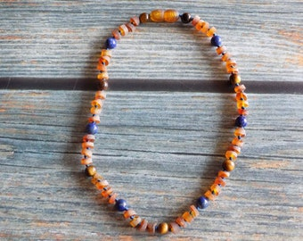 12.5 Inch Anger and Integrity Baltic Amber and Healing Gemstone Necklace Knotted on Silk, Infused with Intention