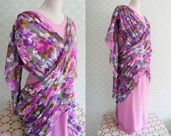 XL Gatsby Style Vintage Dress. Mauve Silk Gathered vintage dress.