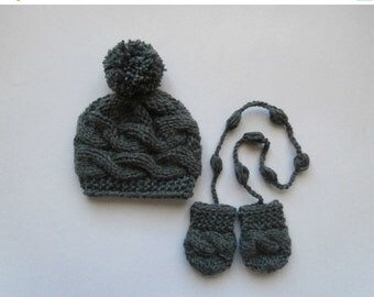 ON SALE 15% SALE Winter Baby Boy Hat and Mittens_Winter Toddler Hat and Mittens _Coming Home Baby Boy Outfit_Newborn Baby Hospital Outfit