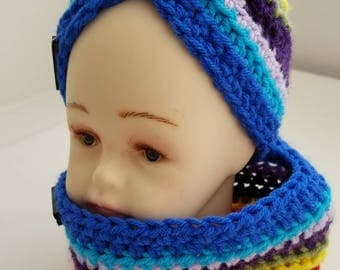 Rainbow headband and neckwarmer/cowl