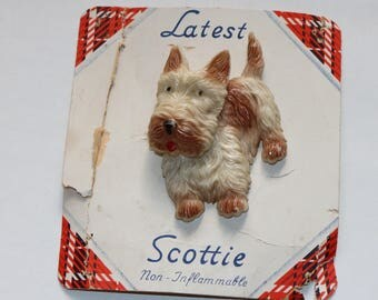 Vintage 1930s 30s original large novelty scottie dog brooch on its card