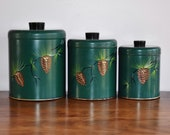 Ransburg Pine Cone Canister Set of 3, Woodland Cabin Pinecone Evergreen Lidded Metal Kitchen Canisters, Hand Painted Storage Container