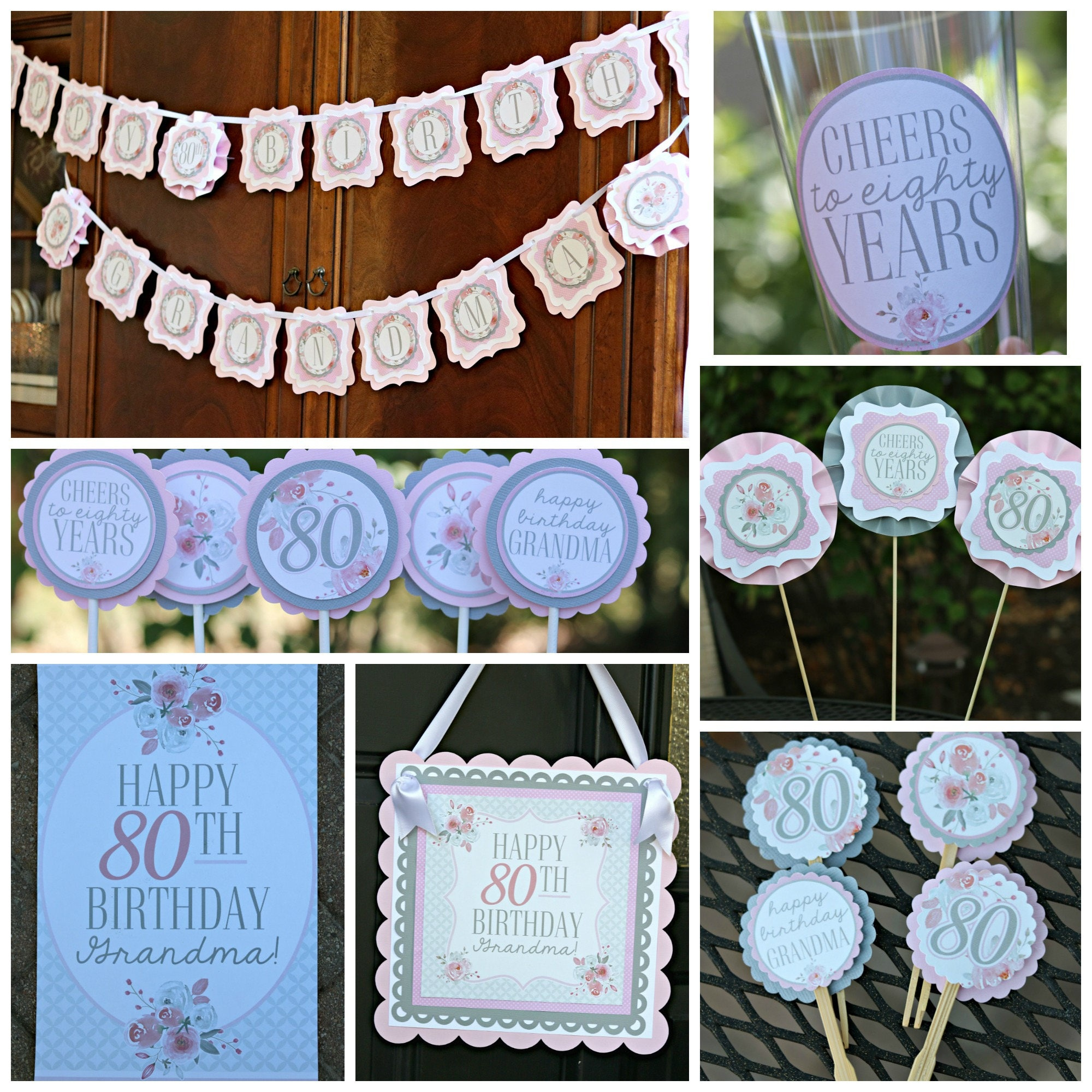 80TH BIRTHDAY DECORATIONS 80th Birthday Party Decor Ladies For Her
