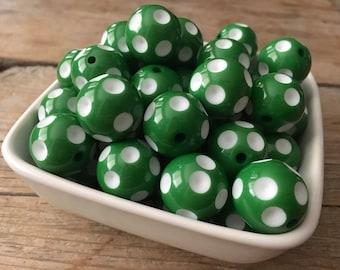 20mm Green Polka Dot Chunky Bead, Christmas Bubblegum Bead, Acrylic Bead, DIY Chunky Necklace, 10 Count