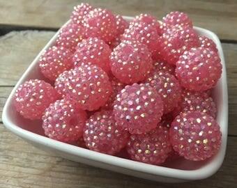 20mm Jelly Pink AB Rhinestone Chunky Bead, Spring Bubblegum Bead, Valentines Acrylic Bead, DIY Chunky Necklace, 10 Count