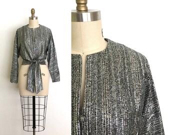 vintage 1950s top | 50s lurex wrap blouse
