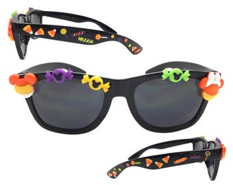 Women's Black Disney Sunglasses with Candy Corn Mickey Mouse, Minnie Mouse, Hand Painted Halloween Candy UV 400 Protection