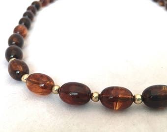 Faux Root Beer Amber Lucite Bead Statement Necklace, Beaded Dark Brown Plastic Resin MidCentury Jewelry, Hidden Screw Closure  23 Inches