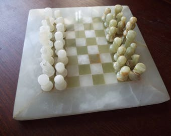 "8"" small  marble  chess set"