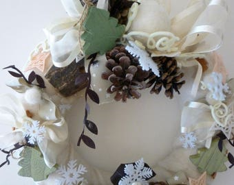 Wreath Christmas spirit of nature, felt, pine cones and snowflakes: Noel Meribel