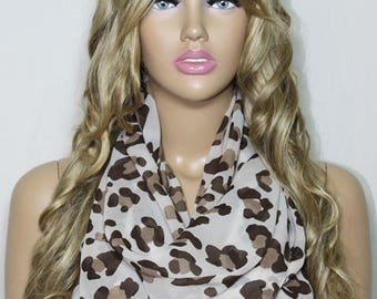 Infinity Scarf Chiffon So Soft Lightweight Scarf Leopard Scarf Loop Scarf Mother's Day Gift For Her For Mom-ESCHERPE