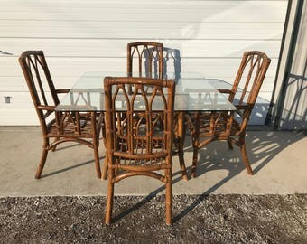 Dining Set Rattan Faux Bamboo Chairs Table 6pc Hollywood Regency Chinese Chippendale Coastal Bohemian Boho Chic Wood Vintage Kitchen Wicker