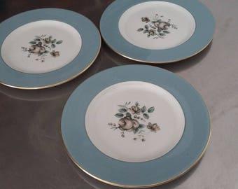 3 Royal Doulton 'Rose Elegans' Salad Tea Cake Plate Plates 203 mm