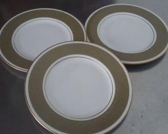 3 Royal Doulton 'Antique Gold' Tea Side Cake Plate Plates 167 mm