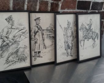 4 Vintage Troop Military black and White Sketches Prints Frames Soldiers Uniform