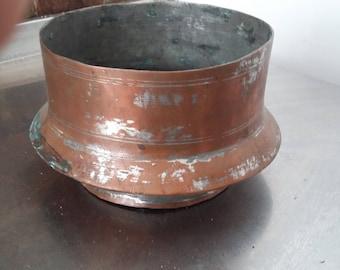 Vintage Copper Bowl Planter