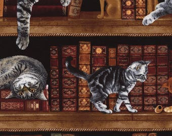 LIbrary Study Books with Cats & Kittens Timeless Treasures #6610 By the yard