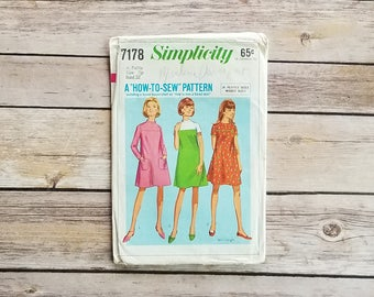 Easy to Make Dress Tween Dress Pattern Simplicity 7178 Junior Petite Flared Dress How to Sew Series 1967 Vintage Mod Look Juniors Cute Dress