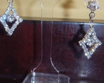 Diamante Diamond Shaped Art Deco Inspired Earrings One off Piece #wedding #gift #bridesmaidsgifts #bridal #ArtDeco #OOAK