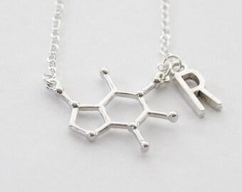 Coffee Initial Necklace, Caffeine Molecule Necklace, Caffeine Necklace, Coffee Necklace, Coffee Gifts, Coffee Jewelry, Molecule Necklace