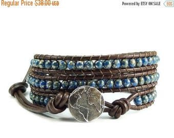 SALE Leather Wrap Bracelet Earth Button Blue Beaded Jewelry