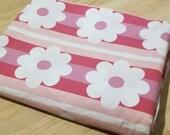 Vintage Sheet - Uncut QUEEN Size Flat Sheet - Retro Mod Flower Stripes