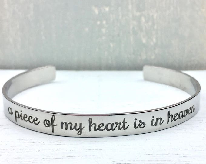 Customized Piece of my Heart is in Heaven Stainless Steel Cuff Bracelet
