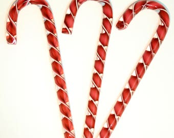 Handblown Art glass  Glass Candy Canes, Ruby Red with White Edge, Matched  Ribbon  Collection