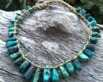 Handmade Hemp Macrame Necklace with Turquoise Semi Precious Stone Beads
