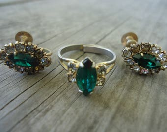 Faux Emerald and Rhinestone Ring Set