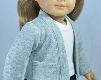 American Girl or 18 Inch Doll CARDIGAN JACKET SWEATER in Gray Knit with Pockets