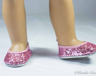 American Girl SHOES Pink SPARKLE Ballet Flats for American Girl or 18 inch doll
