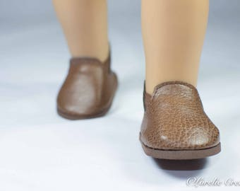 """Doll Ankle BOOTS in Short Length Brown Tan Faux LEATHER for American Girl or 18 """" Doll"""