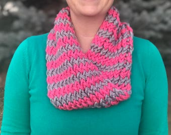 Pink and Gray Infinity Scarf, Women's Knit Infinity Scarf, Single Loop Infinity Scarf