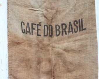 Vintage Cafe Do Brasil, Burlap Coffee Sack, Vintage Textile, Coffee Bean Sack