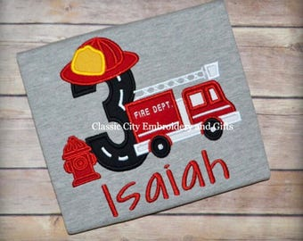 Fire truck applique birthday shirt, fire birthday shirt, with any number, first birthday, second birthday, third birthday, fourth birthday