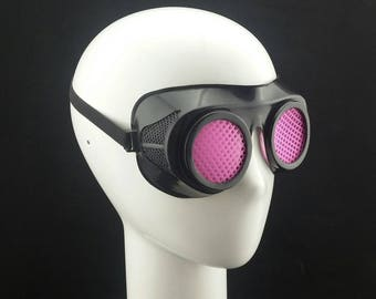 Cyber Rubber Goggles with Pink Lenses minion goggle cyberpunk aviator sunglasses cosplay glasses cyber goggles goggles punk goggles