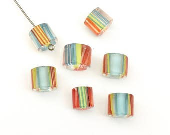 7 hand blow furnace glass beads, 9mm # PV003
