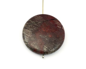1 autumn jasper stone beads/ 30mm coin #PP127-3