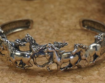Sterling Silver Equestrian Galloping Horses Cuff Bracelet