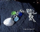RESERVED for RooRooDesigns, Seashell necklace, silver shell necklace, beach glass jewelry, sea glass jewelry, cobalt blue, lime green